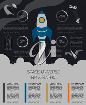 Space, universe graphic design. Infographic template. Vector illustration
