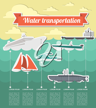 Water transport infographics elements. Nautical. Retro styled illustration. Vector