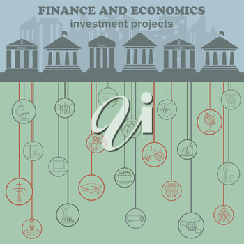 Economics and finance infographic. Investment projects. Banks. Elements for creating your own infographic. Vector illustration