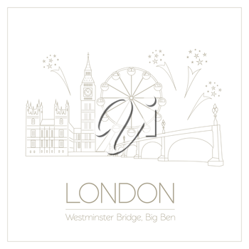 World landmarks. London. United Kingdom.Westminster Abbey, the Bridge, Big Ben. Graphic template. Logos and badges. Linear design. Vector illustration