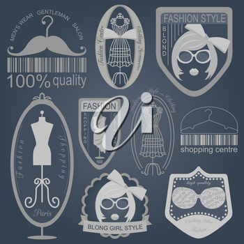 Set of vintage fashion and clothes style logos. Vector logo templates and badges