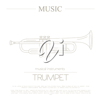 Musical instruments graphic template. Trumpet. Vector illustration