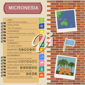 Micronesia infographics, statistical data, sights. Stone money. Yap. Vector illustration
