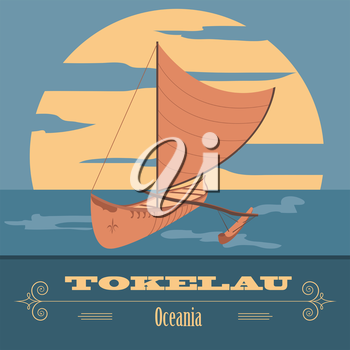 Tokelau. Polynesian canoeing. Retro styled image. Vector illustration