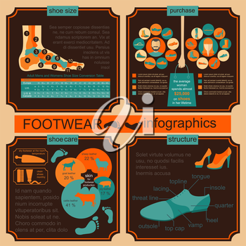 Footwear infographics elements. Easily edited. Vector illustration