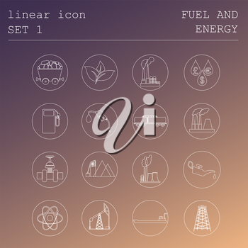Outline icon set Fuel and energyl. Flat linear design. Vector illustration