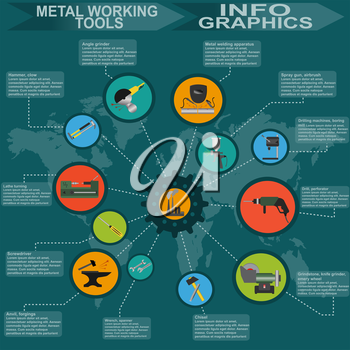 Set of metal working tools Infographics. Vector illustration