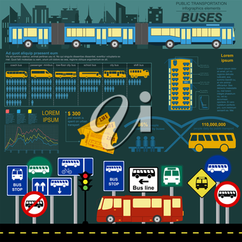 Public transportation infographics. Buses. Vector illustration