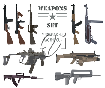 Firearm set. Automatic rifle, machine gun. Flat design. Vector illustration
