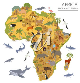 Flat Africa flora and fauna map constructor elements. Animals, birds and sea life isolated on white big set. Build your own geography infographics collection. Vector illustration