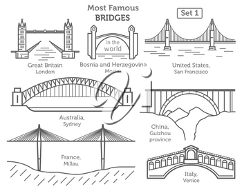 Most famous bridges in the world. Landmarks linear style icon set. Possible use in infographic design. Vector illustration