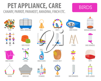 Pet appliance icon set flat style isolated on white. Birds care collection. Create own infographic about parrot, parakeet, canary, thrush, finch, jay bird, starling, amadina, siskin,  toucan, bunting.