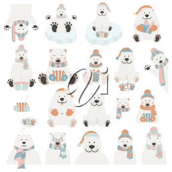 Cute polar bear sticker set. Elements for christmas holiday greeting card, poster design. Vector illustration