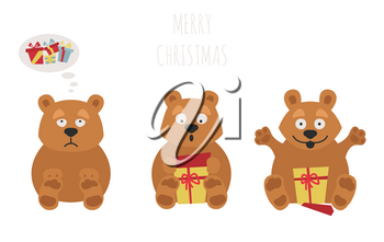 Cute brown bear sticker set. Elements for christmas holiday greeting card, poster design. Vector illustration