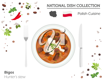 Polish Cuisine. European national dish collection. Hunter`s stew isolated on white, infographic. Vector illustration