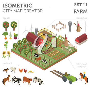 Flat 3d isometric farm land and city map constructor elements isolated on white. Build your own infographic collection. Vector illustration