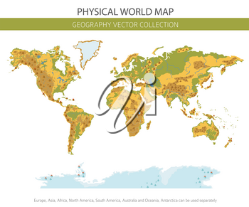 Physical world map elements. Build your own geography info graphic collection. Vector illustration