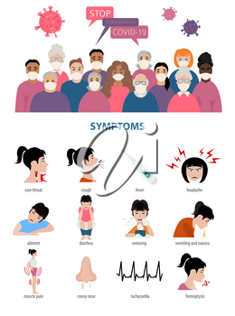 Corona virus disease infographic. Symptoms, diagnosis, treatment, how to protest yourself from COVID-19. Vector illustration