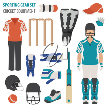 Sporting gear set. Cricketer equipment and accessories flat design icon.Vector illustration