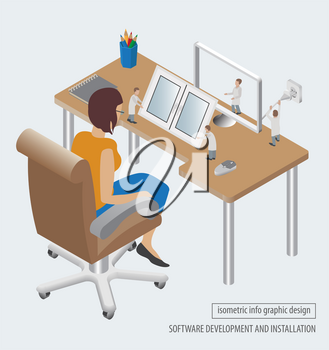 Computer technology isometric collection. Software development and installation. Vector illustration