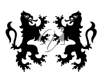 Royalty Free Clipart Image of Two Griffins