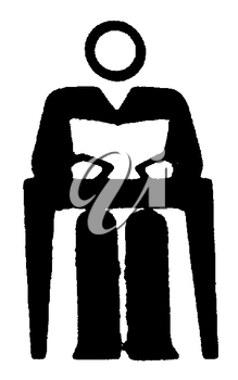 Royalty Free Clipart Image of a Student at a Desk