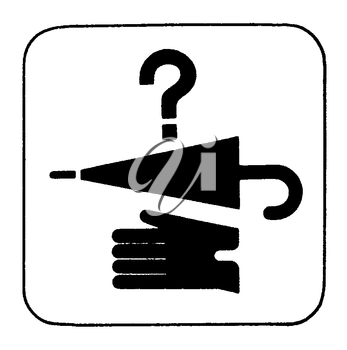 Royalty Free Clipart Image of a Sign with a Question Mark, Umbrella and a Glove