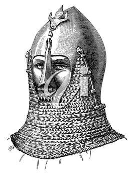 Royalty Free Clipart Image of a Knight in his Helmet