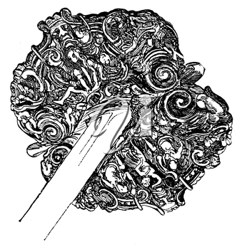 Royalty Free Clipart Image of the Hilt of a Sword