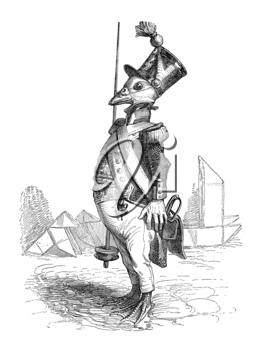 Royalty Free Clipart Image of a Bird Soldier