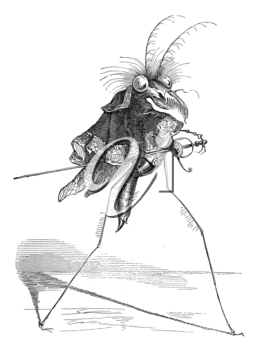 Royalty Free Clipart Image of a Strange Bug With a Sword
