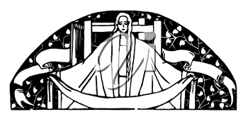Royalty Free Clipart Image of a Woman with Loom