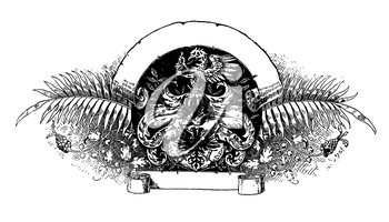 Royalty Free Clipart Image of a Gryphon and Scroll