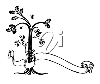 Royalty Free Clipart Image of a Tree and a Banner