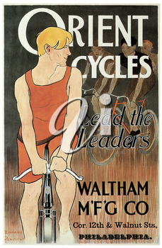 Royalty Free Clipart Image of an Old Advertisement Poster for Bicycles