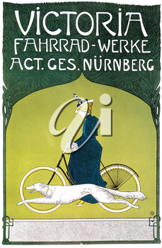Royalty Free Clipart Image of an Old Bike Advertisement Poster