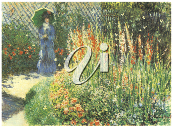 Royalty Free Clipart Image of Monet's Woman Walking in the Garden