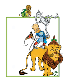 Royalty Free Clipart Image of a Lion, Scarecrow, Tinman, and a Girl