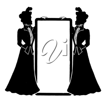 Royalty Free Clipart Image of Two Women in Silhouette Holding a Frame