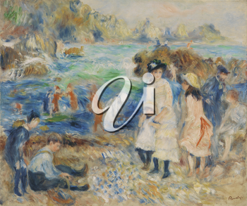 Royalty Free Clipart Image of Renoir Painting of Children at the Beach