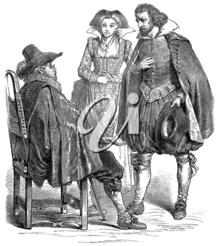 Royalty Free Clipart Image of an Historic Illustration of a Man and Woman