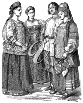 Royalty Free Clipart Image of People in Braun and Schneider Costume