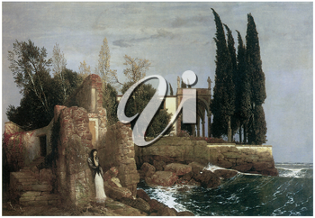 Royalty Free Clipart Image of The Seaside Villa by Arnold Bocklin