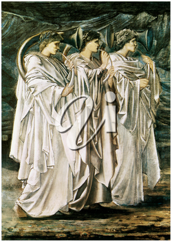 Royalty Free Clipart Image of The Challenge in the Desert by Edward Burne-Jones