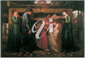 Royalty Free Clipart Image of Dante's Dream at the Time of the Death of Beatrice by Dante Gabriel Rossetti