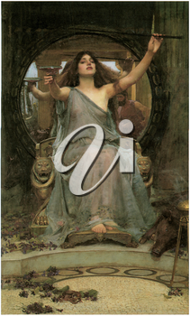 Royalty Free Clipart Image of Circe Offering the Cup to Ulysses by John William Waterhouse