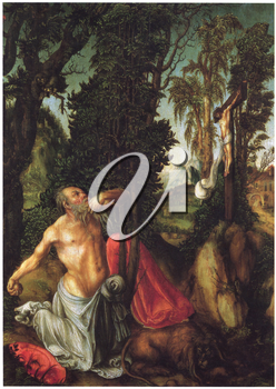 Royalty Free Clipart Image of St. Jerome in Penitence by Lucas Cranach the Elder