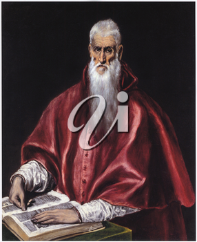 Royalty Free Clipart Image of Saint Jerome as a Scholar by El Greco