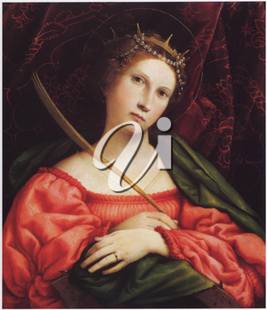 Royalty Free Clipart Image of St. Catherine of Alexandria by Lorenzo Lotio