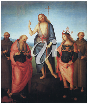 Royalty Free Clipart Image of Saint John the Baptist between Saints Francis of Assisi, Jerome, Sebastian and Anthony of Padua by Pietro Perugino